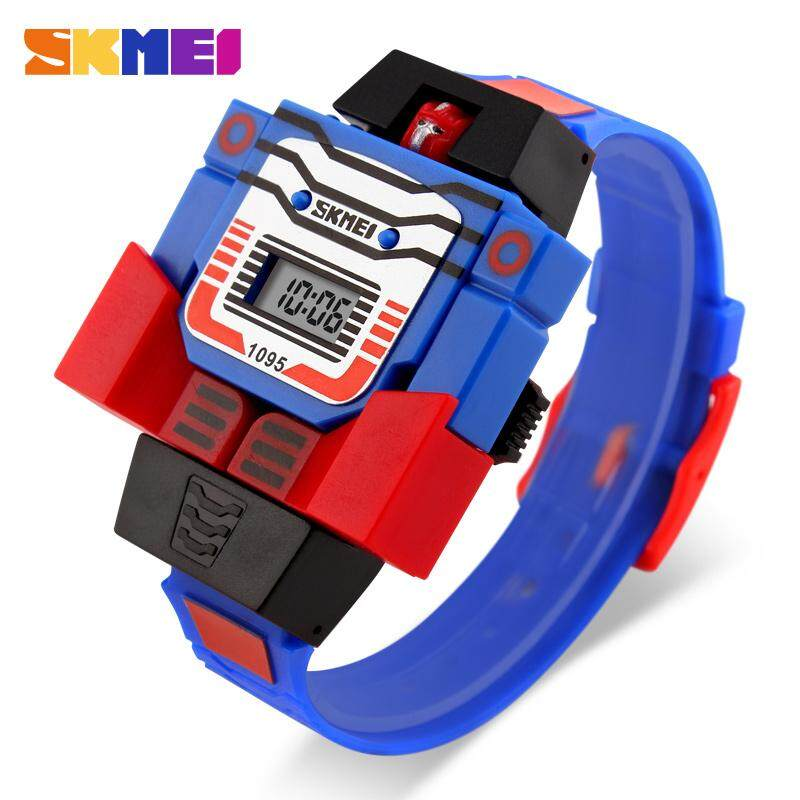 SKMEI Kids LED Digital Children Watch Cartoon Sports Watches Relogio Robot Transformation Toys Boys Wristwatches 1095 Malaysia