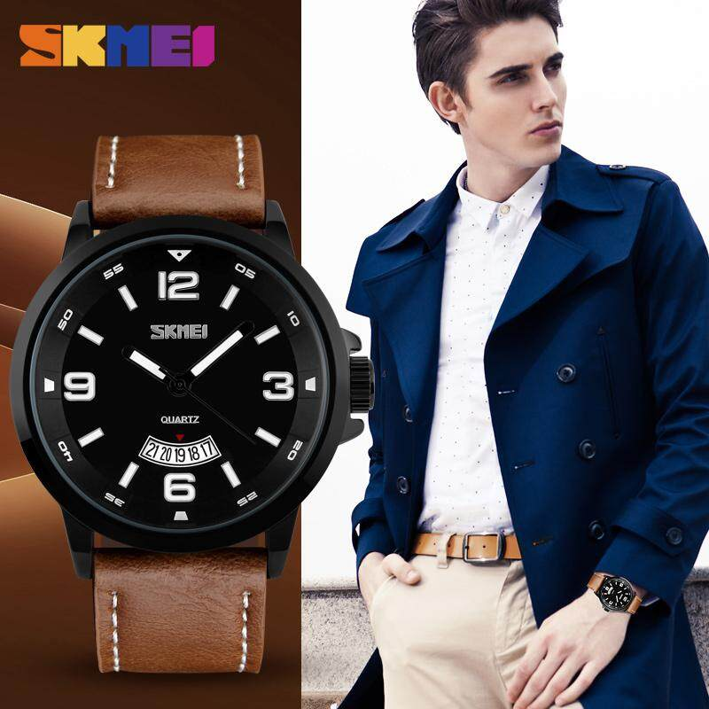 SKMEI Men Fashion Watch Quartz Waterproof Watches Complete Calendar Soft Retro Leather Wristwatches 9115 Malaysia