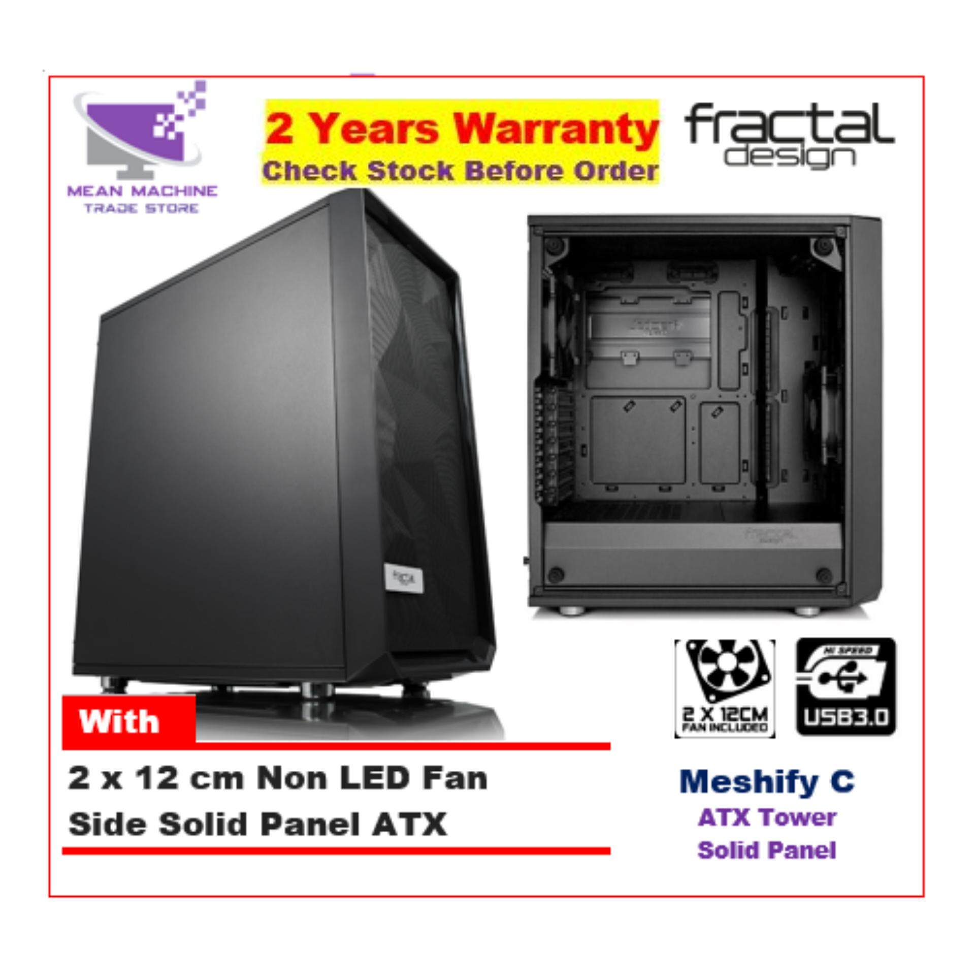 #Fractal Design Meshify C Solid Panel Black ATX Chassis (With 2 X 12cm Fan) # Malaysia