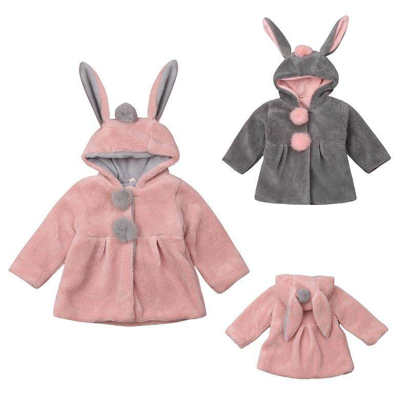 Kids Baby Girls Rabbit Ear Hooded Plush Coat Winter Jacket Outwear Clothes By Marys.
