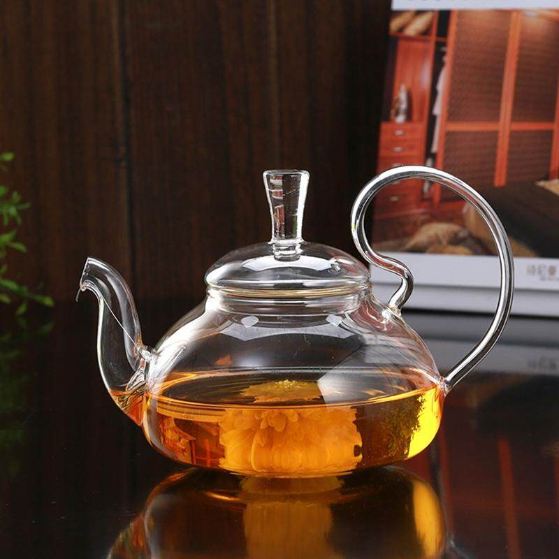 750ml Clear Glass Heat Resistant Teapot / Infuser Flower / Green Leaf Tea Pots By Paidbang.