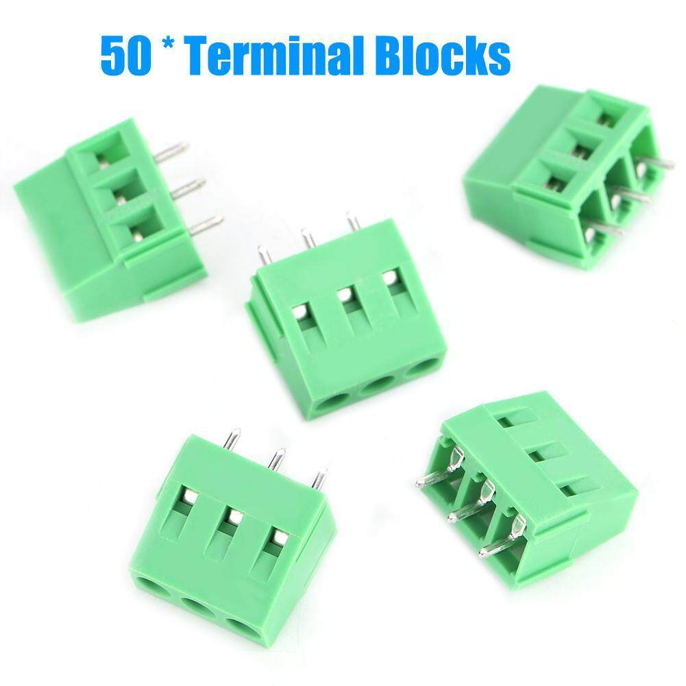 【Time-limited Promotions】50PCS 3-Pin 5mm Spacing Screw Green PCB Terminal Blocks Electrical Connectors