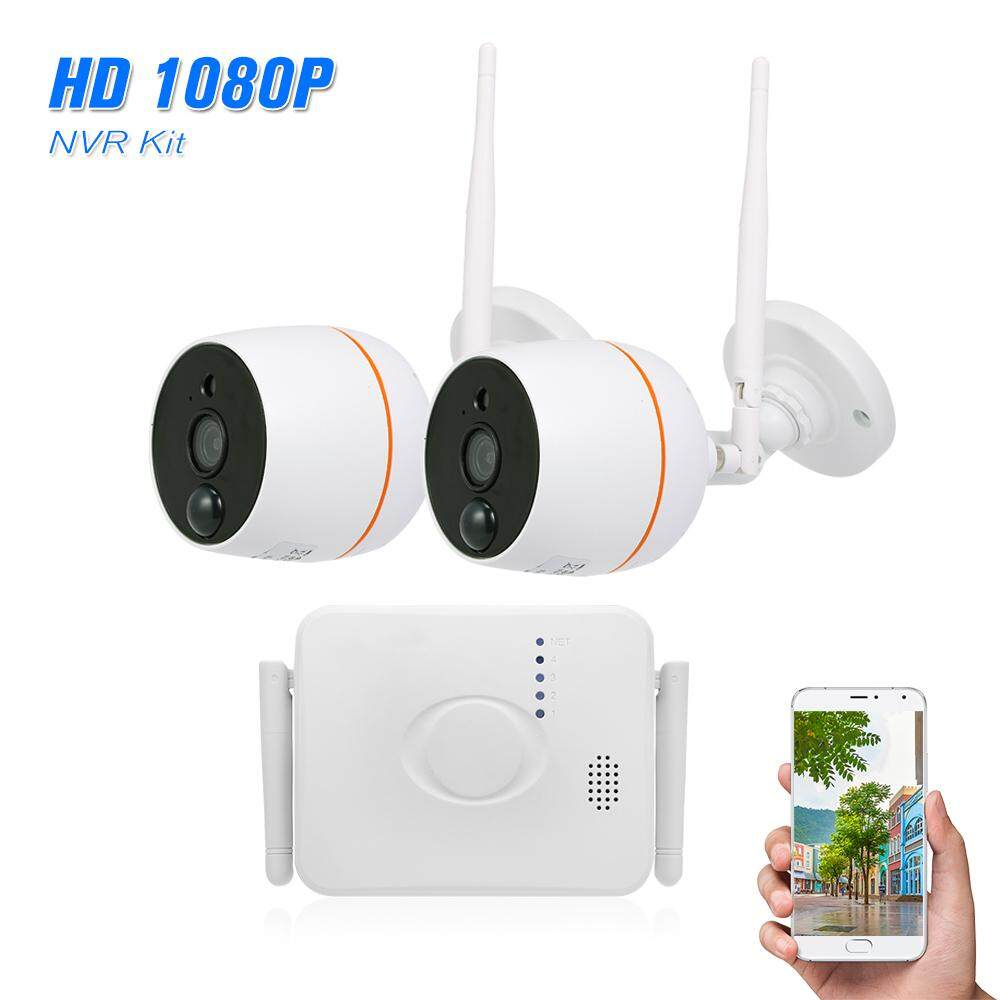 4CH Wifi Mini NVR Kit Video Surveillance TF Card Record with 2PCS 1080P  Wireless IP Camera Set Audio PIR Motion Detection Outdoor Waterproof APP