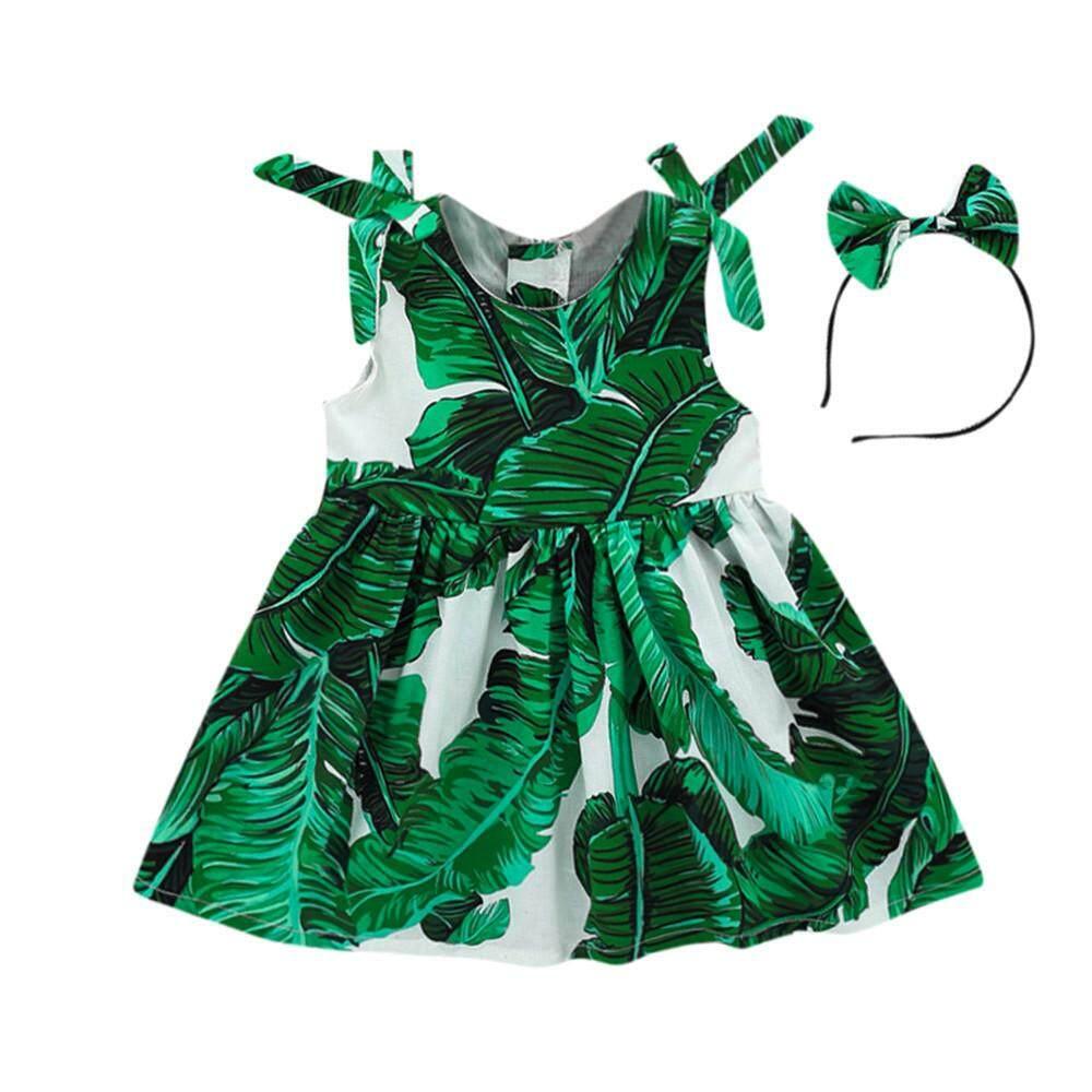 Toddler Baby Girls Leaves Print Dress Straps Party Headband Beach Dress Sundress By Cutebabyroom.