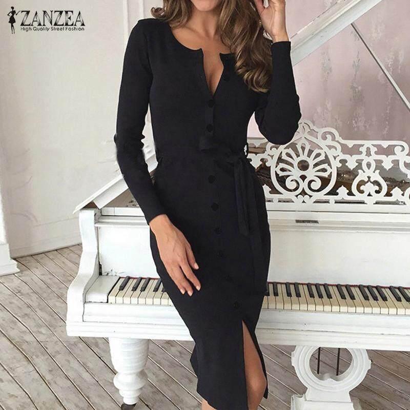 ZANZEA Elegant Women Midi Dress Long Sleeve V Neck Split Drawstring Belt Casual Solid Bodycon Dress