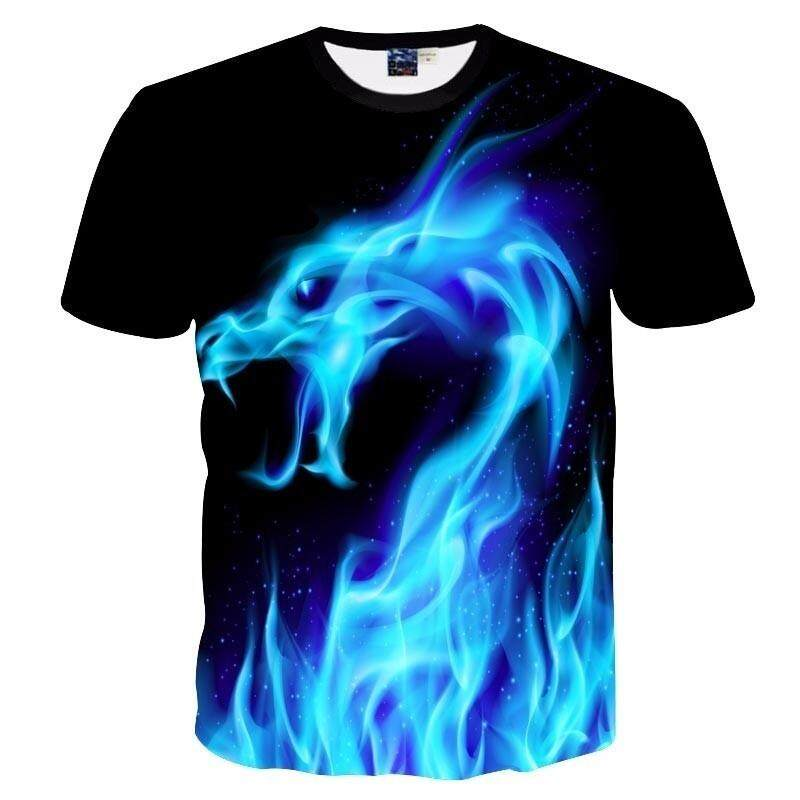 5288550d394 2018 Mens Funny Shirt Blue Fire Snake Dragon 3D Printed T-Shirts Short  Sleeve Tees