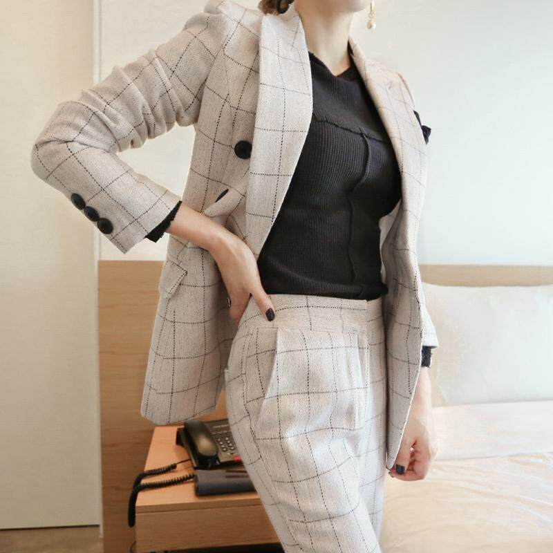 303cf29233 Work Office Pants and Jackets 2 Pieces Women Blazer Suit 2018 Autumn  Vintage White Plaid Business