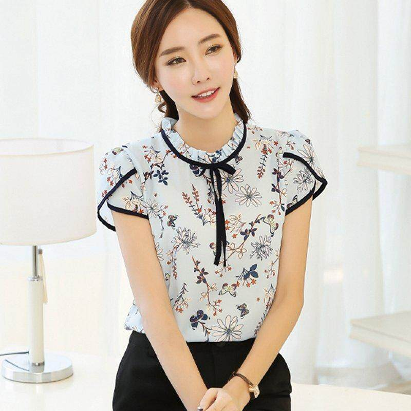 0981c16d10d5 Summer Floral Print Chiffon Blouse Ruffled Collar Bow Neck Shirt Petal  Short Sleeve Chiffon Tops Plus