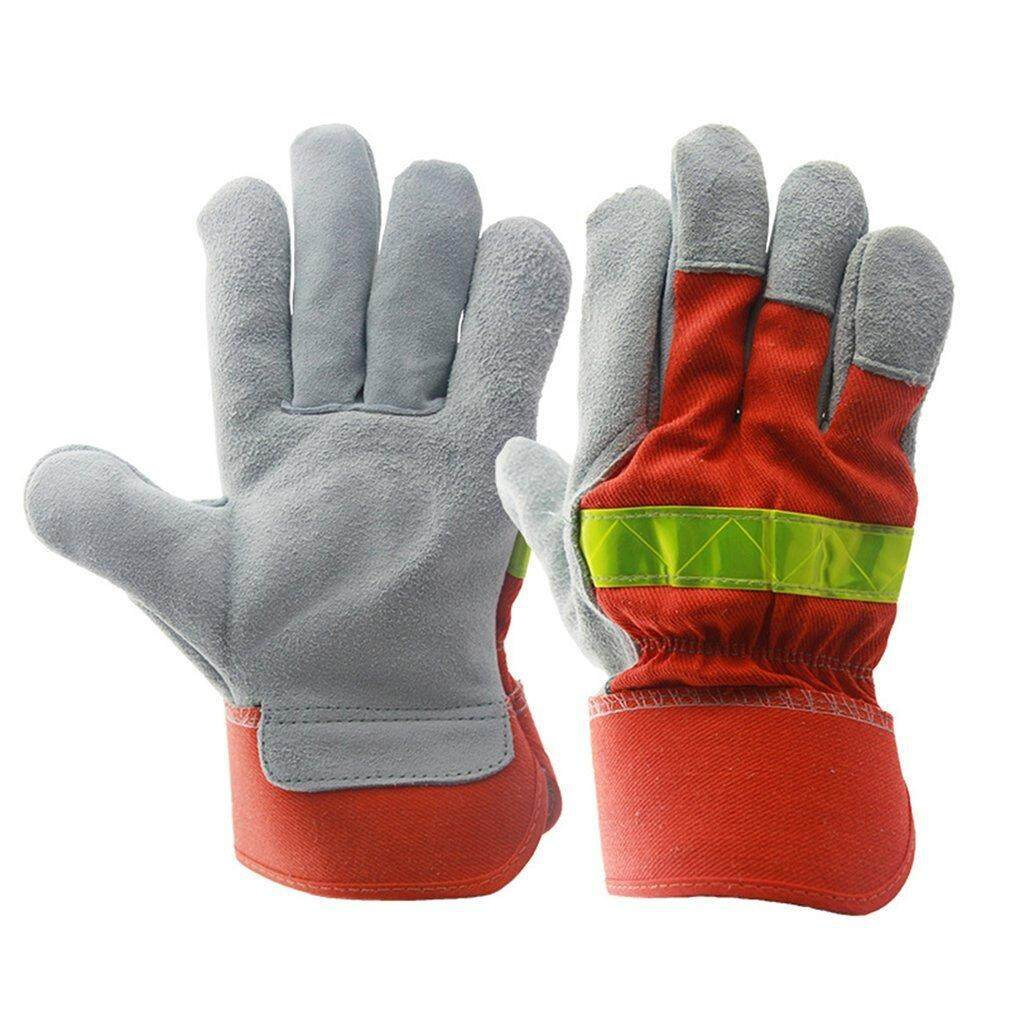 Allwin Leather Work Glove Safety Protective Gloves Fire Proof With Reflective Strap Orange & Yellow