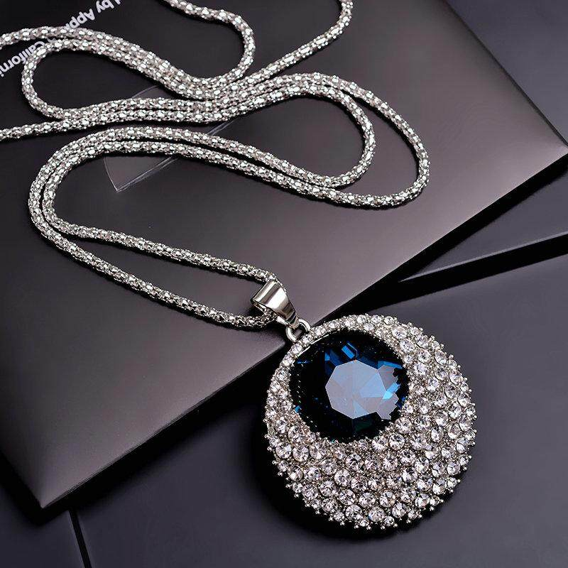 ea57a87686a924 South Korea Modern And Trendy women Artificial Crystal Versatile Long  Necklace Sweater Chain