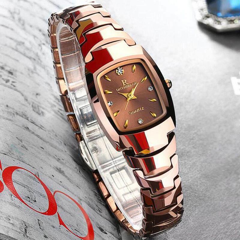 Original Luxury Waterproof Women Bracelet Watch Rose Gold Silver Square Quartz Tungsten Steel Watch for Woman Jam Tangan Wanita Malaysia