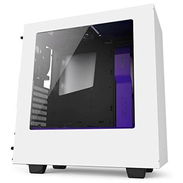 NZXT S340 Compact ATX Mid-Tower Case with All-Steel Panels - Matte White + Purple Malaysia