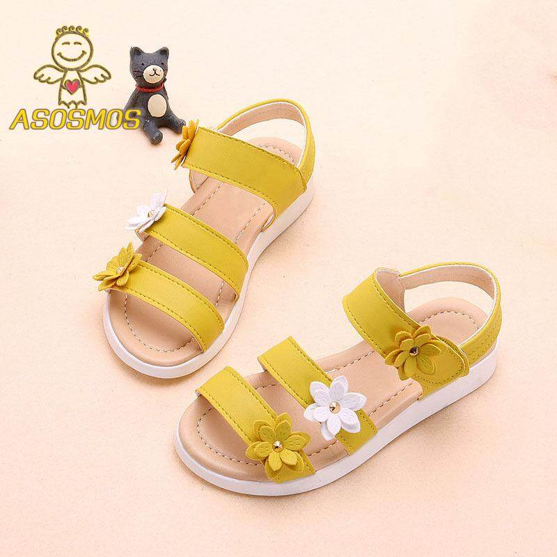 910887668 ASM Summer Beach Baby Girl Flat Sandals Strappy Flowers Kids Toddler Shoes