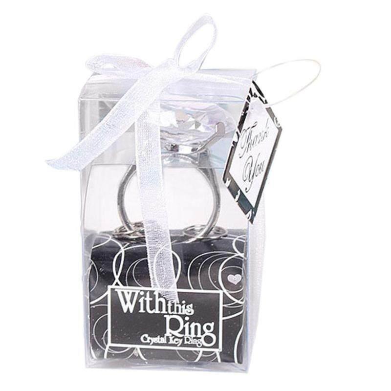 trustinyou Your Lover Romantic Gift White Love Super Big Diamond Ring Keychain (Silver)