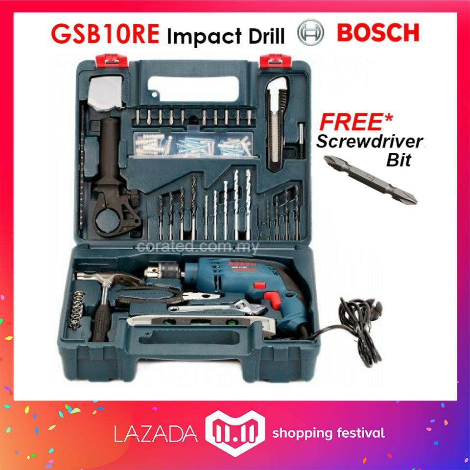 Bosch Home Drills Drivers Price In Malaysia Best New Bor Listrik 10mm Nrt Pro Corated Gsb10re Impact Drill Professional With 100pcs Accessories Set6 Months