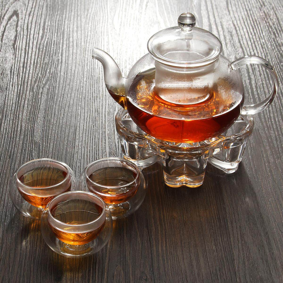 600ml High Borosilicate Glass Teapot Set + Crystal Base + 6 Double Wall Tea Cups By Warmroom.