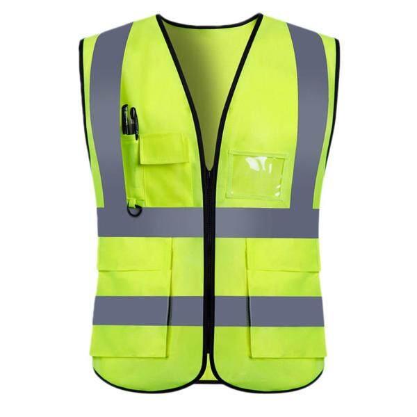 Adults High Visibility 5 Pockets Safety Reflective Zipper Vest Warning Waistcoat