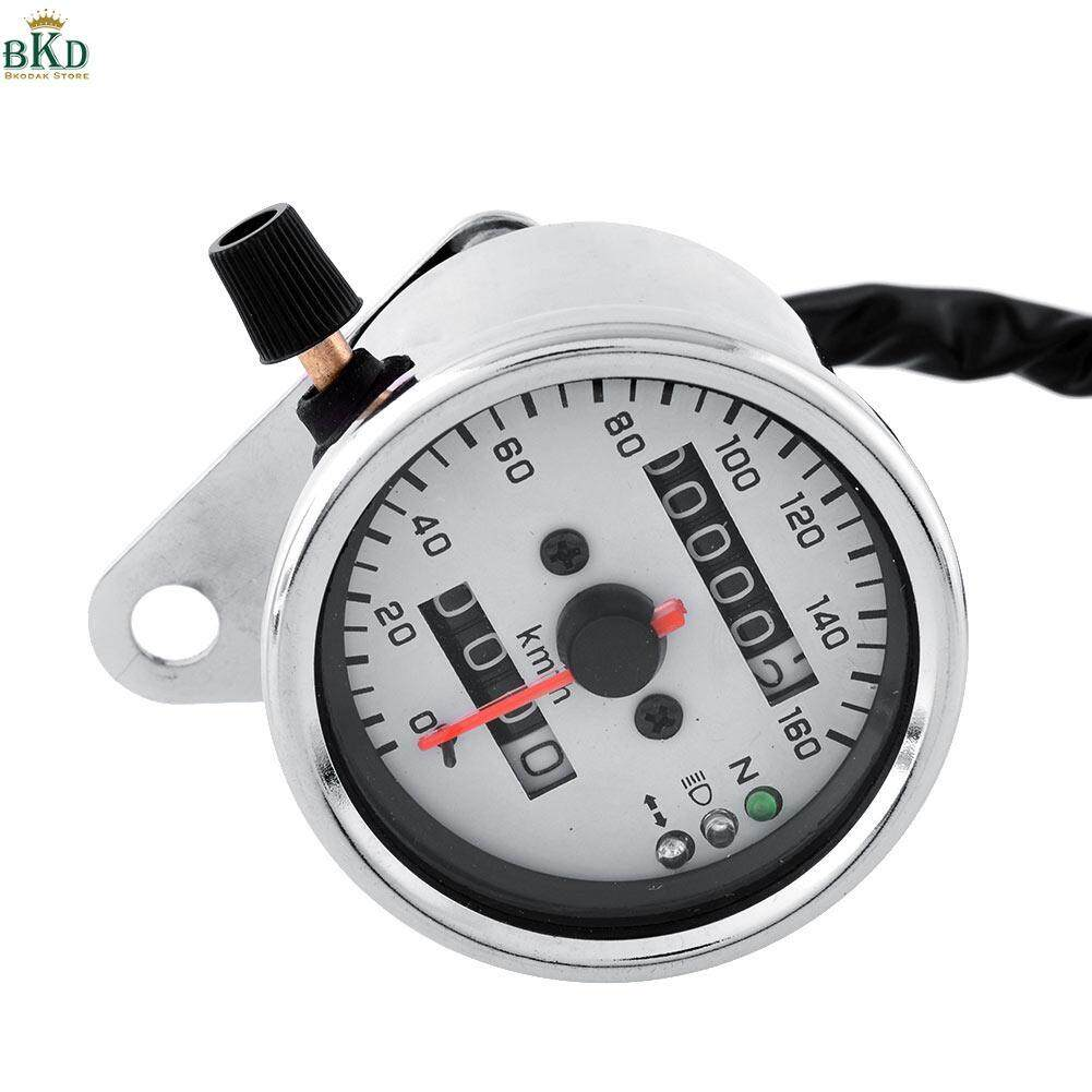 Motorcycle Chorme Dual Speedometer Gauge Led Backlight Background White By Bokeda Store.