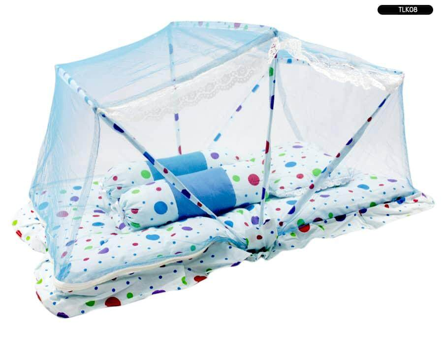 Tilam Kelambu Baby Foldable Mattress With Mosquito Net (big Polka Dot ) By Ichambell Shop.