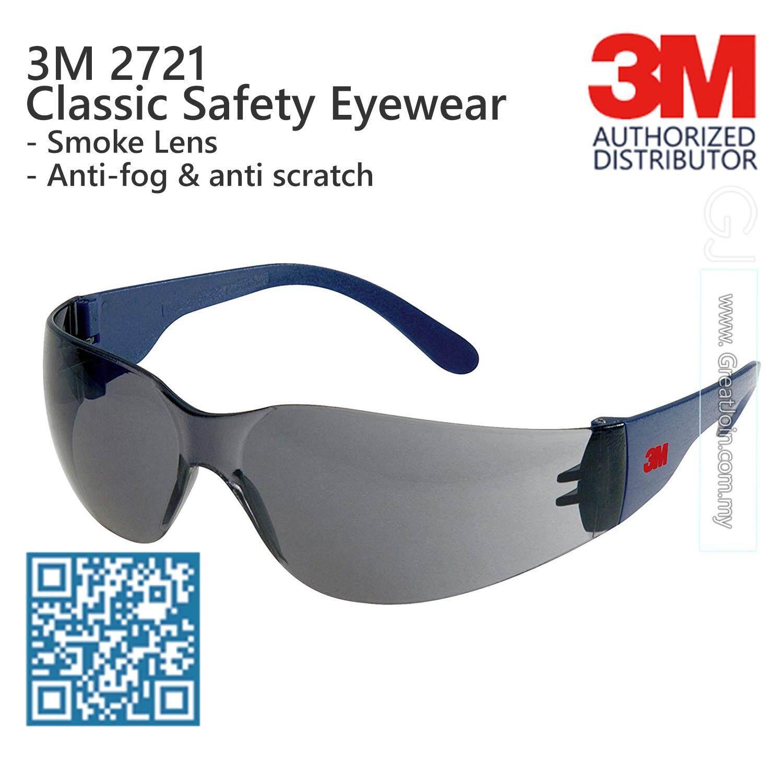 3M 2721 Classic Safety Eyewear Anti Fog Anti Scratch [Smoke Lens / Blue Temple]