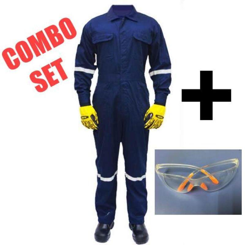 QUEST Safety Reflective Workwear Coverall Navy Blue Size M c/w Customize Name Embroidery & Safety Glass (COMBO SET)