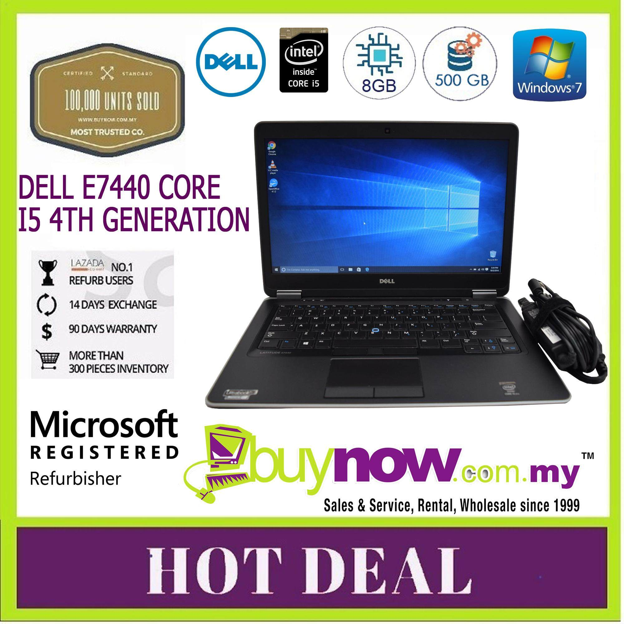 REFURBISHED USED LAPTOP NOTEBOOK COMPUTER PC ULTRA SLIM ULTRA THIN DELL LATITUDE E7440 CORE i5 4th GEN - 4200U 8GB DDR3L 500GB WINDOWS 7 PRO ORIGINAL GENUINE Malaysia