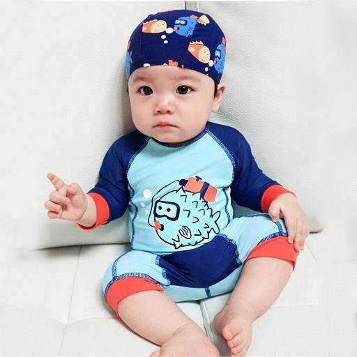 7080b96d6 Infant Baby Swimwear 2018 Summer One Pieces Swimsuit for Infant Boy Cute  Fish Print Swim Bathing