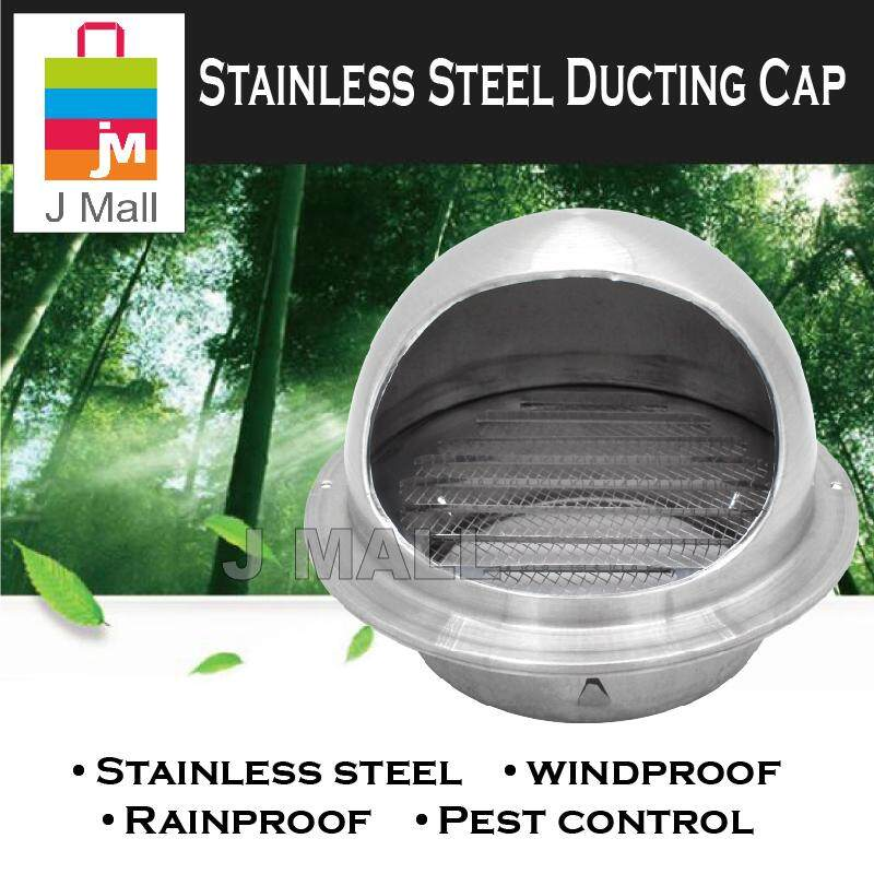 Al 6 (160mm) Stainless Steel Hood Ducting Cap - For Ducting Hose By J Mall.
