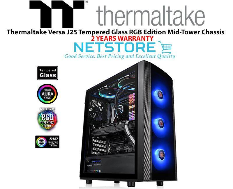 Thermaltake Versa J25 Tempered Glass RGB Edition Mid-Tower Chassis CA-1L8-00M1WN-01 Malaysia