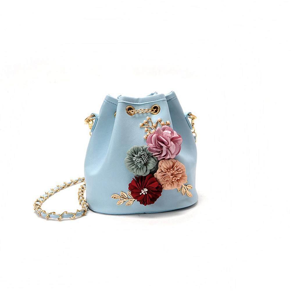 HiQueen Women's Flower Embellished Single Shoulder Bags Lady Handbag Drawstring Bucket Bag