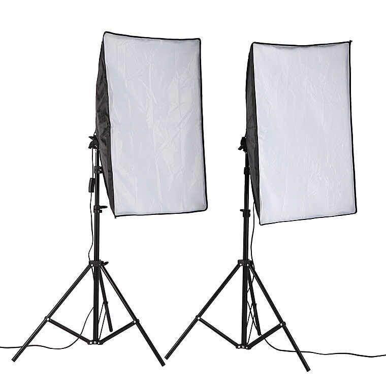 Panda Online 50x70cm Photo Studio Lighting Softbox Video Light Kit + Light  Stand