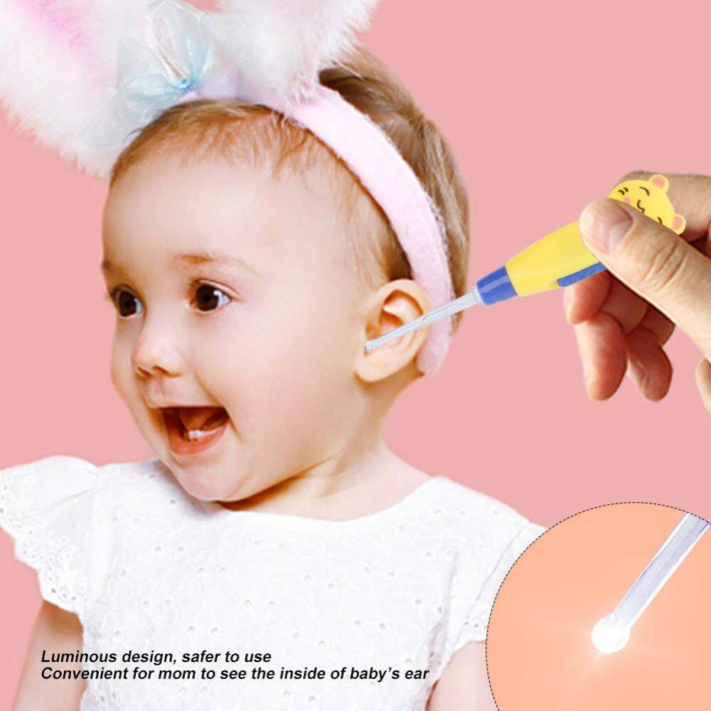 [free Shipping]cute Cartoon Led Flashlight Earpick Earwax Remover With Scoop Tweezers Cleaner Care Tool By Sweetbaby123.