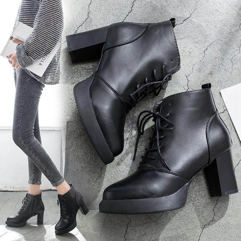 Women Leather Ankle Boots Thick With High Heeled Lace Up Martin Shoes Black By Lucky More Store.