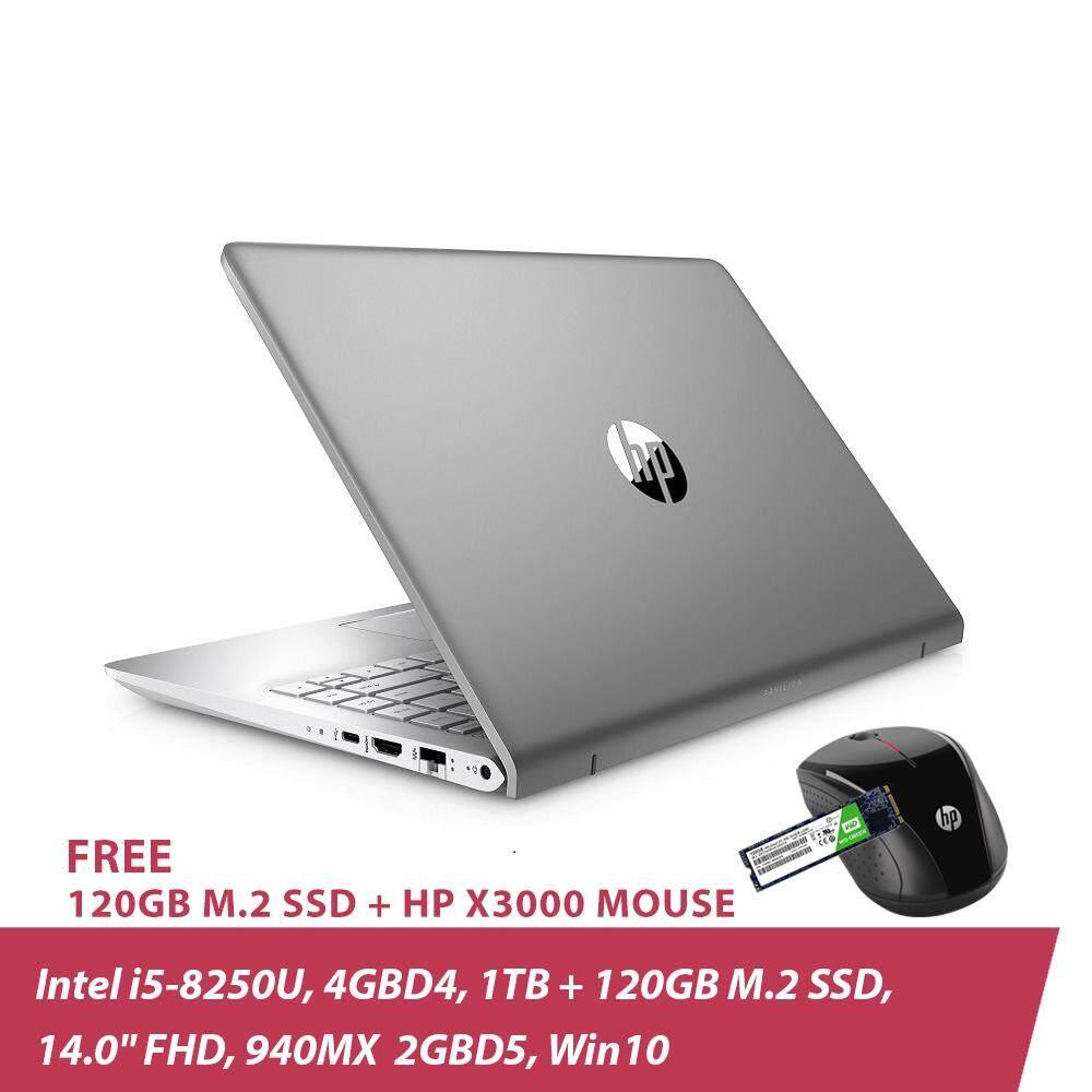 HP Pavilion 14-bf103TX Laptop 2LS71PA (i5-8250U, 4GBD4, 1TB, 14.0 FHD, 940MX 2GBD5, Win10) Mineral Silver + Free 120GB M.2 SSD + HP X3000 Wireless Mouse Malaysia