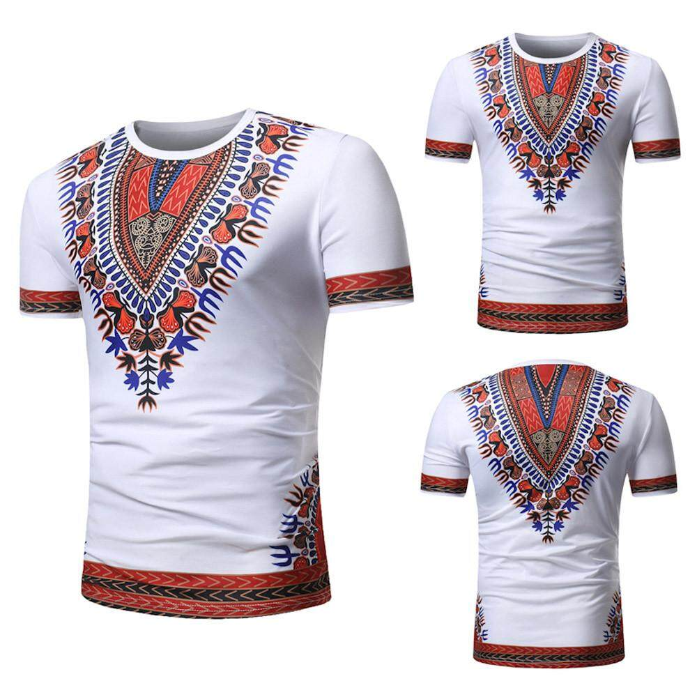 4910555e7c24 nagostore Men Summer Casual African Print O Neck Pullover Short Sleeve T- shirt Top Blouse