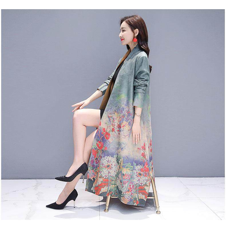 a99c773b7db Fashion Female Deerskin Printing Autumn Chinese Wind National Style Ancient  Coats Jackets