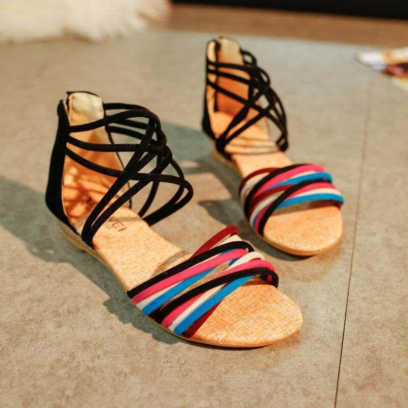 eea84aff3f3df China. New Fashion Ribbons Flat Sandals Low-heeled Student Peep-toe Sandals  Bohemian Wedge Summer
