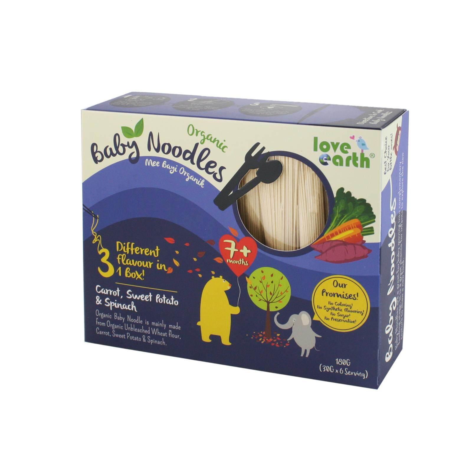 Love Earth Organic Baby Noodles Carrot , Sweet Potato & Spinach (180g) By Mam Mamm Store.