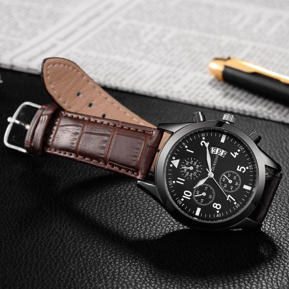 Men Luxury Stainless Steel Quartz Military Sport Leather Band Dial Wrist Watch Malaysia