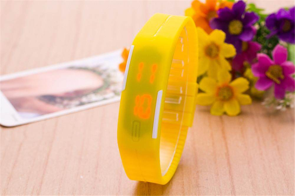 Kids Rubber LED Watch Date Bracelet Digital Sport Wristwatch YELLOW Malaysia