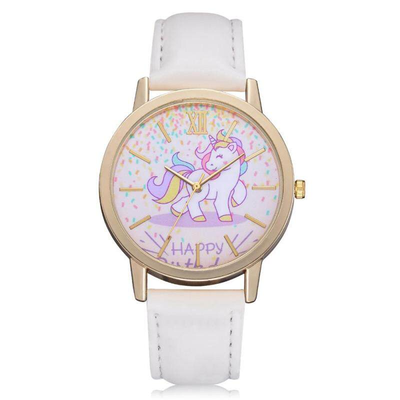 CNB2C Hot Sale Womens Fashion Cute Cartoon Horse Leather Strap Kids Girls Leather Band Watch Malaysia