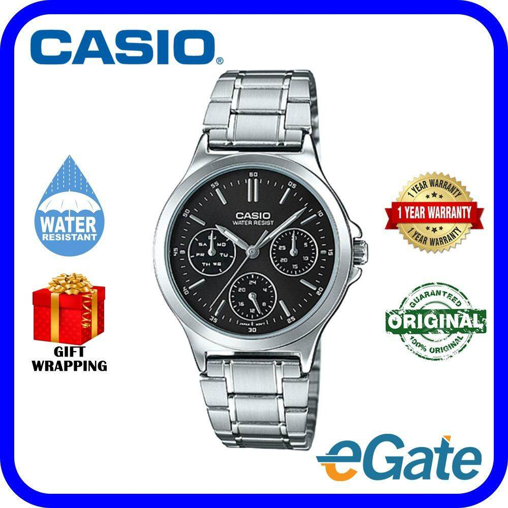 Casio LTP-V300D-1A Analog Women Watch Silver Black Casual Original Malaysia