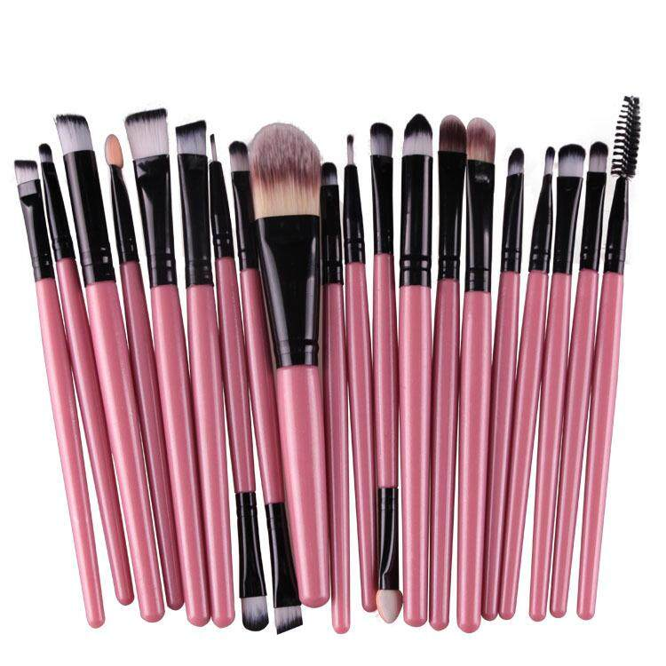 20 Pcs Make Up Brush Set Black Pink By Glamhouse.