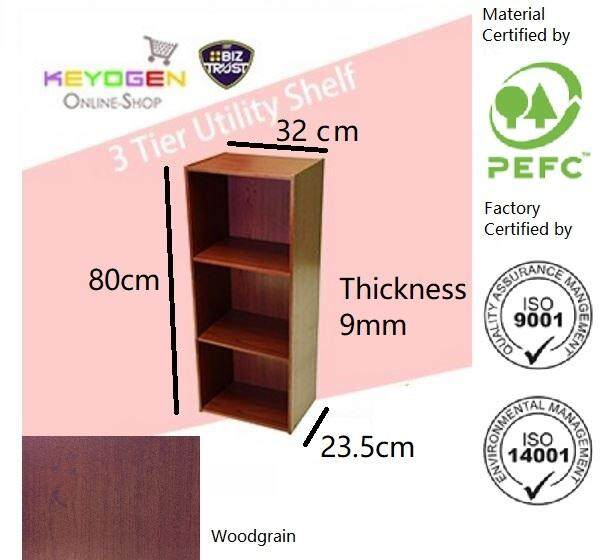 ( Flash Sale ) Keyogen 3 Tier Wooden Multipurpose Utility Storage Shelf Organiser Box Rack By Keyogenshop.