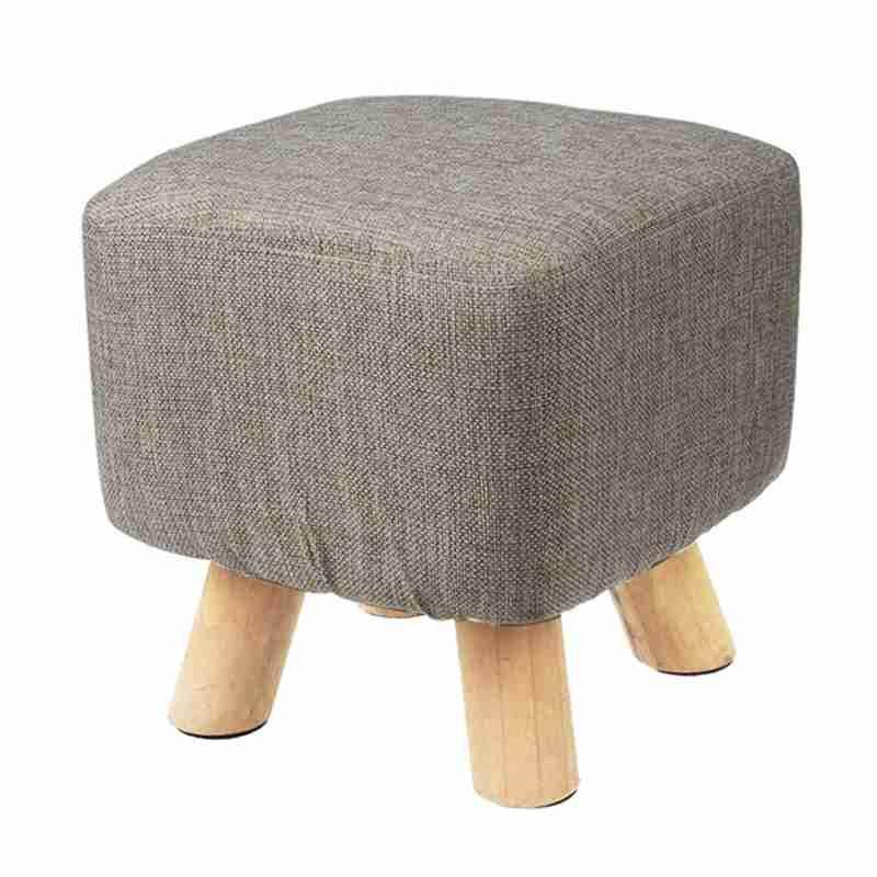 Modern Luxury Upholstered Footstool Pouffe Stool + Wooden Leg Pattern:square Fabric:grey(4 Legs) By Fastour.
