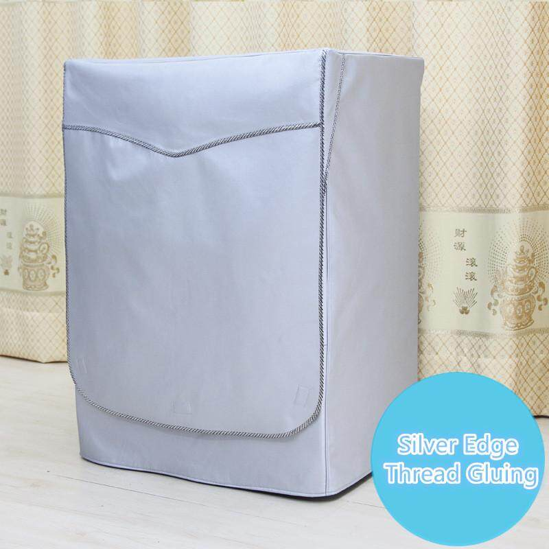 Home Sunscreen Washing Machine Cover Laundry Dryer Polyester Silver Coating Automatic Turbine Roller Dustproof Waterproof Case [L]