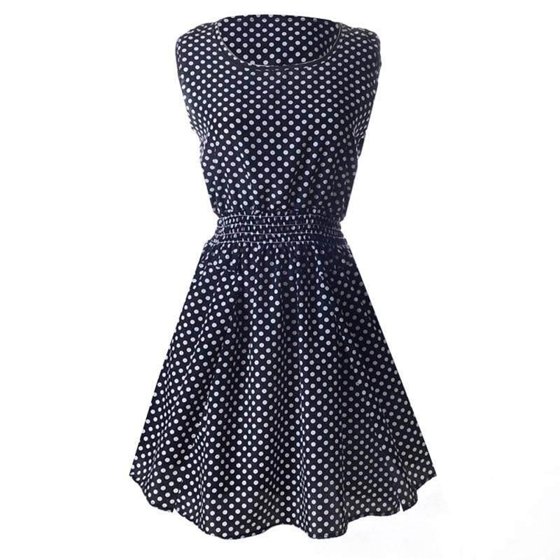 147a618f2d4 Lady s Sleeveless O-neck Flower Printed Casual Mini Dress--Black white dots  Asian