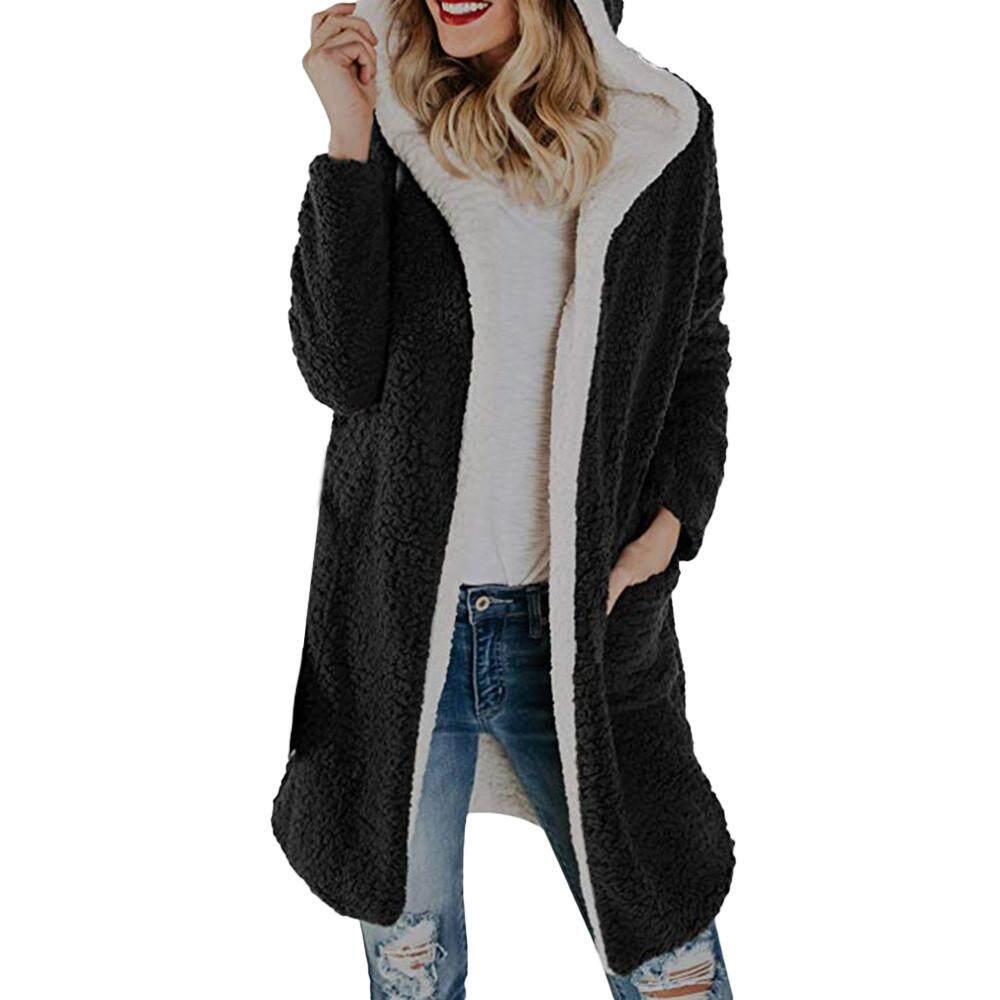 b080e170ac98 Wonder Coat Womens Winter Warm Fleece Hooded with Pockets Open Front  Cardigan Outwear Coat