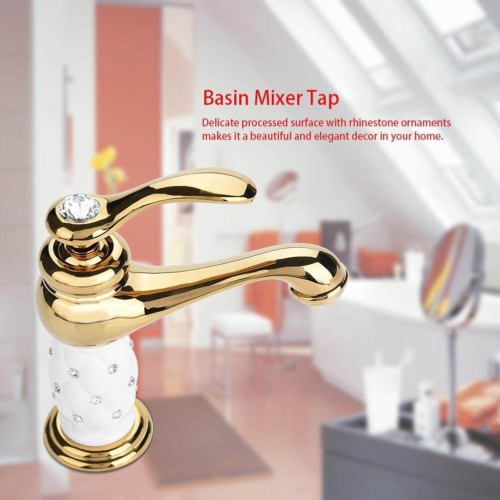 Solid Brass Mixer Tap Cold/Hot Water Faucet with Rhinestone Ornaments for Basin Sink (Golden)