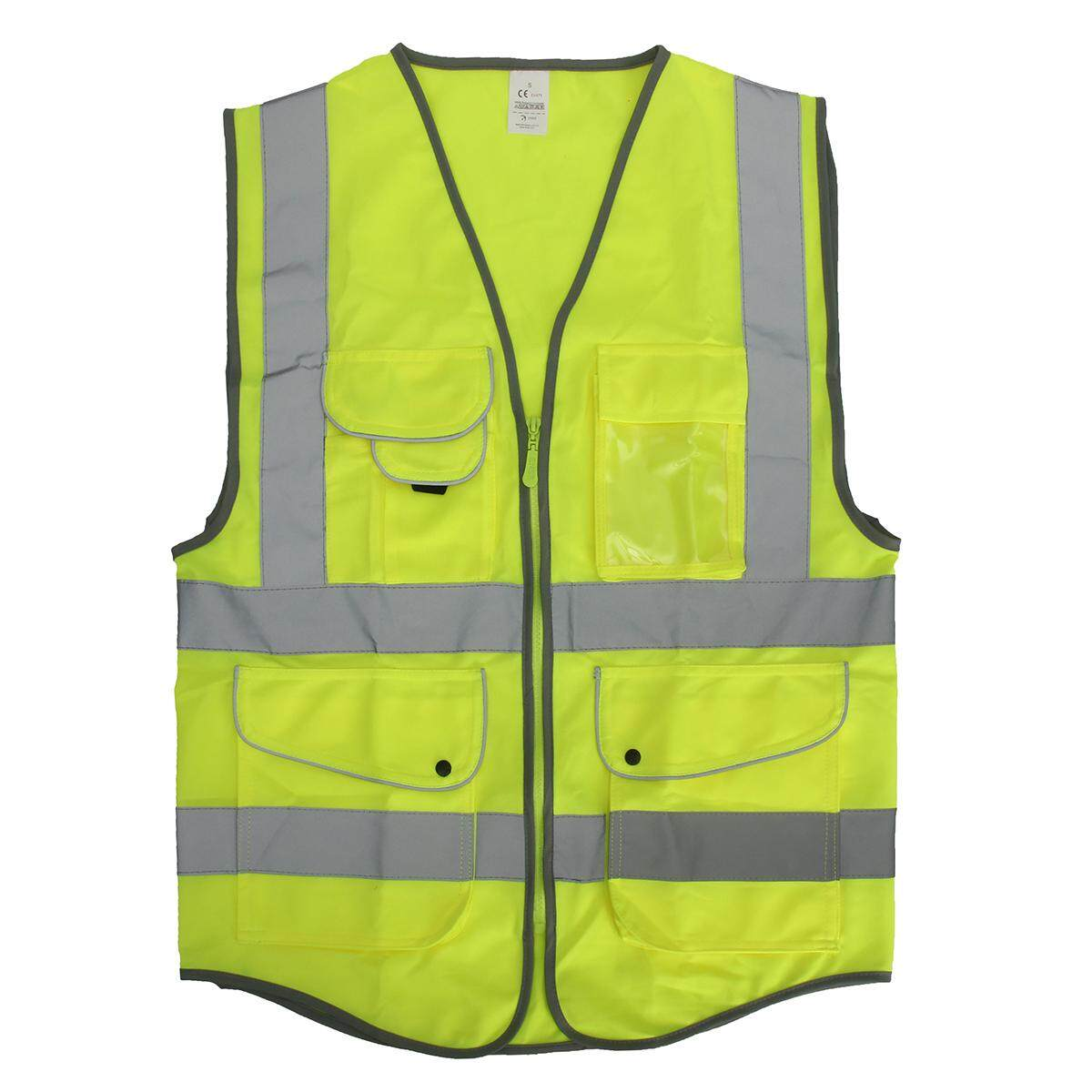 5 Pocket Neon Green High Visibility Reflective Construction Safety Security Vest # M